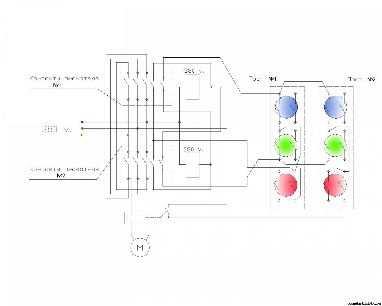 Схема пуска асинхронного двигателя с магнитным пускателем